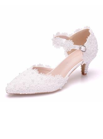 Women's Leatherette Low Heel Closed Toe Pumps Sandals With Applique