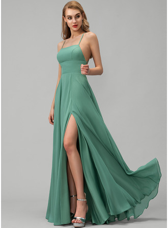 Square Neckline Floor-Length Chiffon Prom Dresses With Split Front Pockets