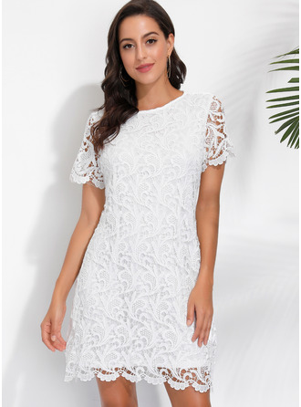 Lace Solid Round Neck Short Sleeves Midi Dresses