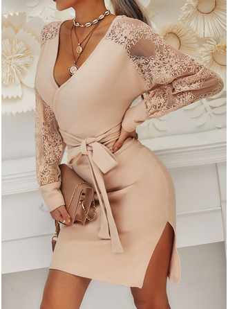 Lace Solid V-Neck Long Sleeves Casual Long Tight Sweater Dress Dresses