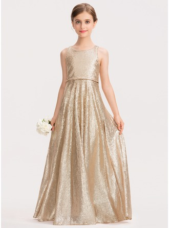 Scoop Neck Floor-Length Sequined Junior Bridesmaid Dress