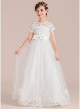 Floor-length Flower Girl Dress - Tulle Charmeuse Lace Short Sleeves Scoop Neck