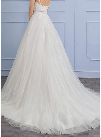 Separates Chapel Train Tulle Wedding Dress
