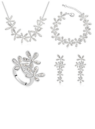 Ladies' Artistic Alloy/Platinum Plated With Diamond Austrian Crystal Jewelry Sets For Bride/For Friends