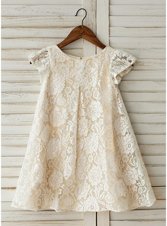 Knee-length Flower Girl Dress - Lace Short Sleeves Scoop Neck With Lace