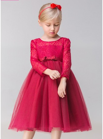 A-Line/Princess Tea-length Flower Girl Dress - Tulle/Lace Long Sleeves Jewel With Bow(s)