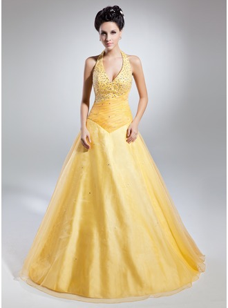 Ball-Gown Halter Floor-Length Organza Prom Dress With Ruffle Beading Sequins