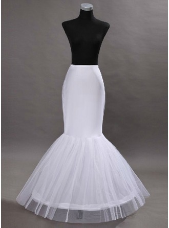 Women Tulle Netting/Satin Floor-length 2 Tiers Bustle