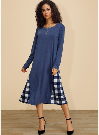 Cotton With Plaid Midi Dress