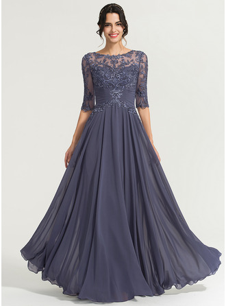 Scoop Neck Floor-Length Chiffon Evening Dress With Sequins