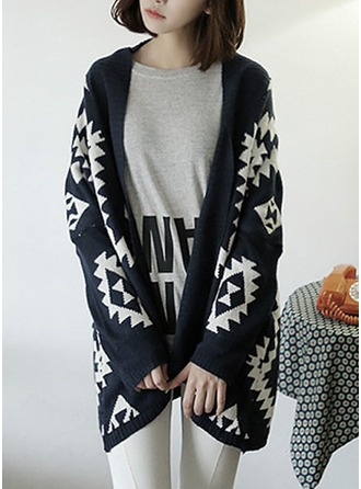 Geometric Print Cotton Blends Cardigan Sweaters