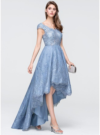 A-Line/Princess V-neck Asymmetrical Tulle Lace Prom Dress