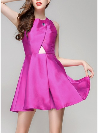 Satin With Stitching/Hollow Above Knee Dress
