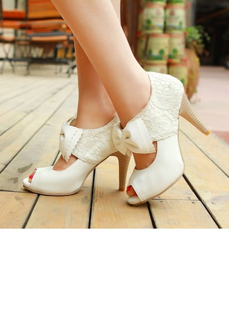 Women's Lace Leatherette Cone Heel Peep Toe Sandals With Bowknot