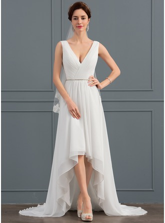 V-neck Asymmetrical Chiffon Wedding Dress With Beading