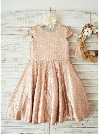 Knee-length Flower Girl Dress - Sequined Sleeveless Scoop Neck