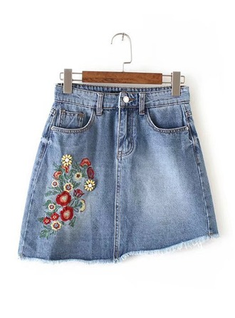 Demin Skirts Mini Embroidery Denim Skirts