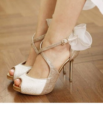 Women's Sparkling Glitter Stiletto Heel Peep Toe Platform Sandals Beach Wedding Shoes