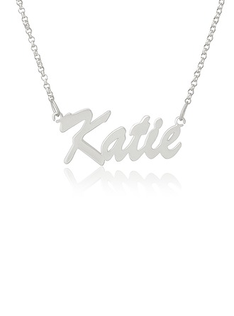 Custom Silver Letter Vintage Name Necklace - Valentines Gifts