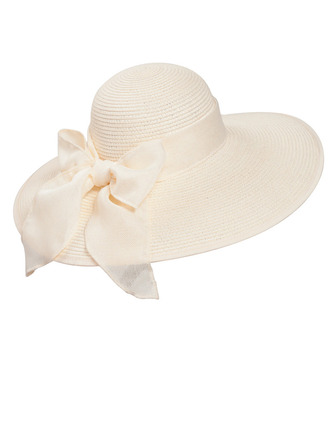 Ladies' Beautiful Rattan Straw With Bowknot Floppy Hat/Straw Hat