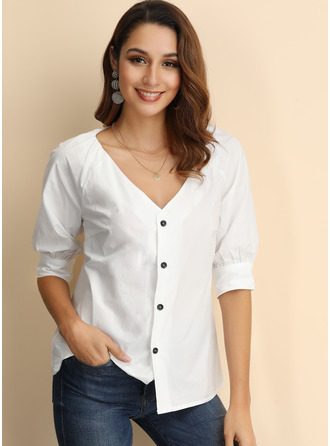Long Sleeves Polyester V Neck Knit Shirt Blouses Blouses