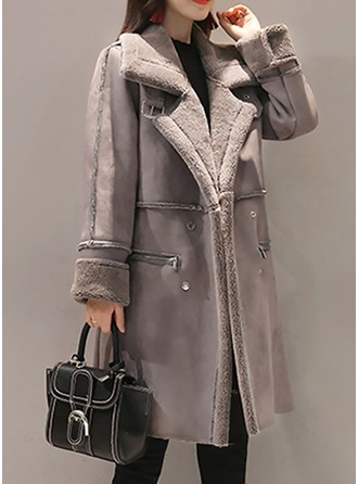 Cotton Blends Long Sleeves Plain Wool Coats ()