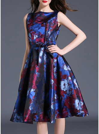 Polyester With Bowknot/Jacquard/Crumple Midi Dress