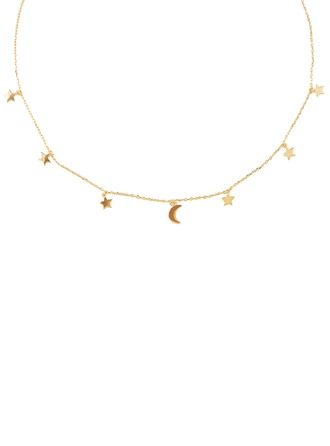 Silver Moon Star Charm Necklace For Women For Girlfriend