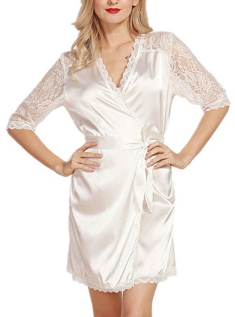 Bride Bridesmaid Lace Polyester With Short Satin & Lace Robes