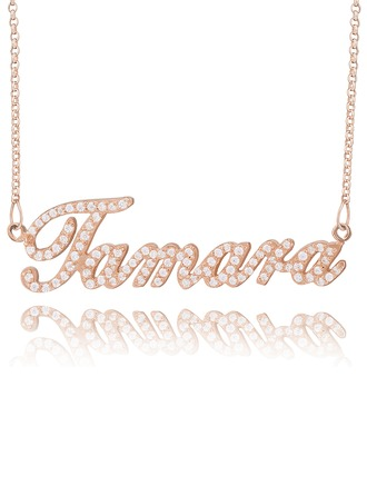 Personalized 18k Rose Gold Plated Silver Plate Name Necklace