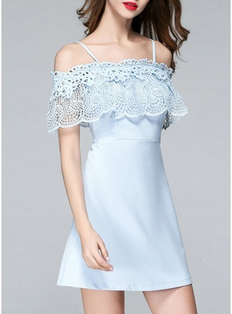 Polyester With Lace/Hollow Above Knee Dress