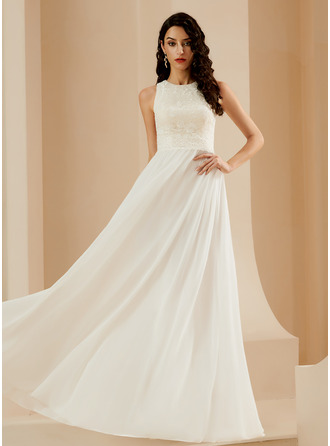 A-Line Sweep Train Wedding Dress With Lace Sequins