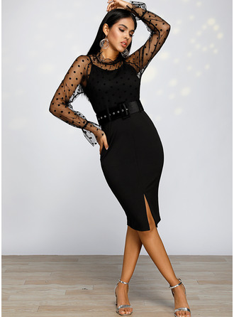Polyester With PolkaDot/Slit Knee Length Dress