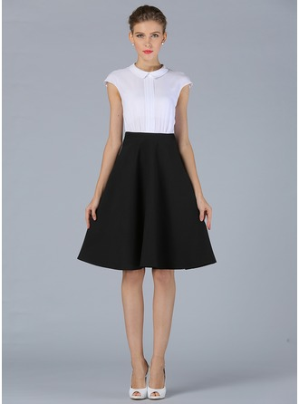 Polyester/Cotton With Plain Knee Length Dress