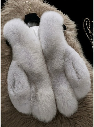 Faux Fur Sleeveless Plain Vest Kabanlar