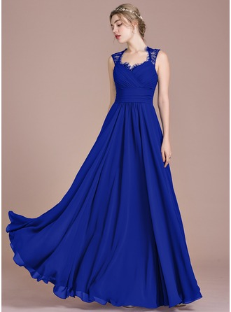Floor-Length Chiffon Prom Dresses With Ruffle Bow(s)
