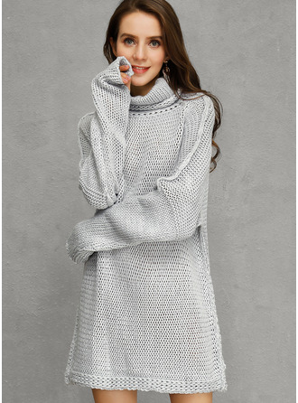 Couleur Unie Polyester Col Roulé Pull-overs Robes pull Pulls