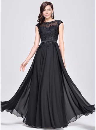 A-Line Scoop Neck Floor-Length Chiffon Prom Dresses With Beading Appliques Lace Sequins