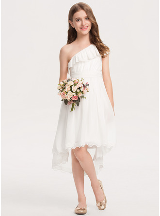 A-Line One-Shoulder Asymmetrical Chiffon Lace Junior Bridesmaid Dress With Bow(s)