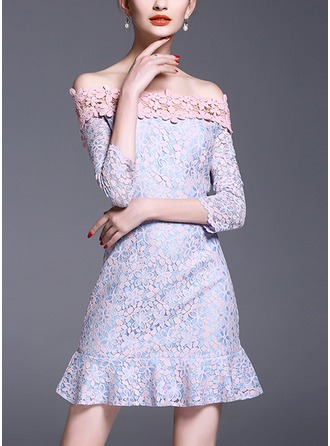 Lace With Lace/Stitching/Hollow/Ruffles Above Knee Dress