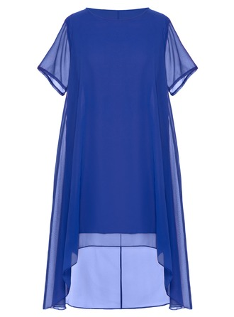 Chiffon With Stitching Asymmetrical Dress