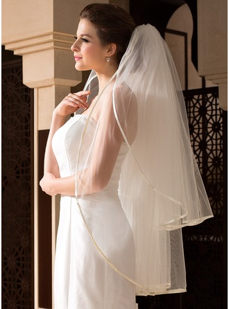Two-tier Fingertip Bridal Veils With Ribbon Edge
