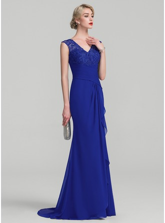 Trumpet/Mermaid V-neck Sweep Train Chiffon Lace Mother of the Bride Dress With Cascading Ruffles