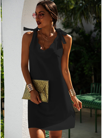 Solid Shift V-Neck Sleeveless Midi Casual Little Black Vacation Tank Dresses