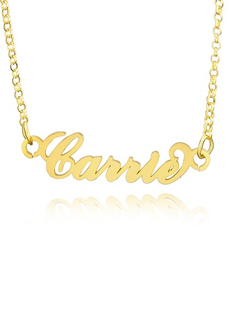 Custom 18k Gold Plated Silver Plate Carrie Name Necklace