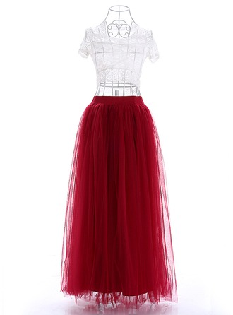 Nylon Plain Floor-Length A-Line Skirts