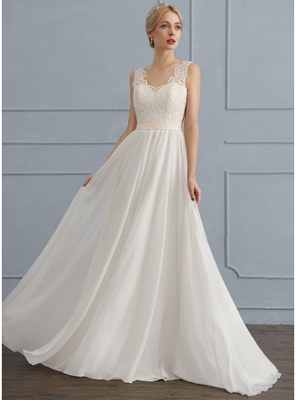 V-neck Sweep Train Chiffon Wedding Dress