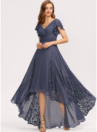 V-neck Asymmetrical Chiffon Evening Dress With Ruffle Lace