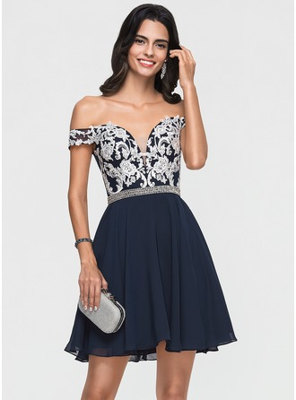 A-Line Off-the-Shoulder Short/Mini Chiffon Homecoming Dress With Lace Beading