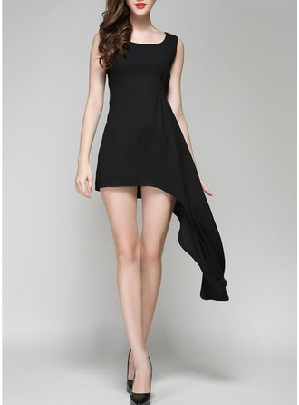 Cambric With Stitching Above Knee Dress